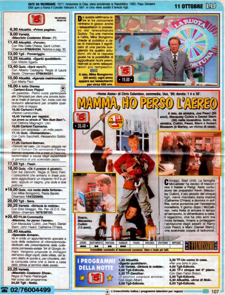home alone 1ª tv Canale 5